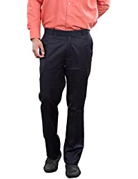 AUDACITY Trousers - Mens Formal Navy Blue Cotton Regular Fit Trousers