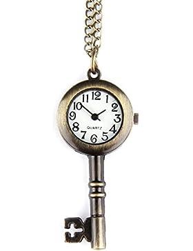 GSPStyle Unisex Taschenuhr Anhänger Halskette Quarz Uhren Schlüssel-Form Schmuck Farbe Kupfer