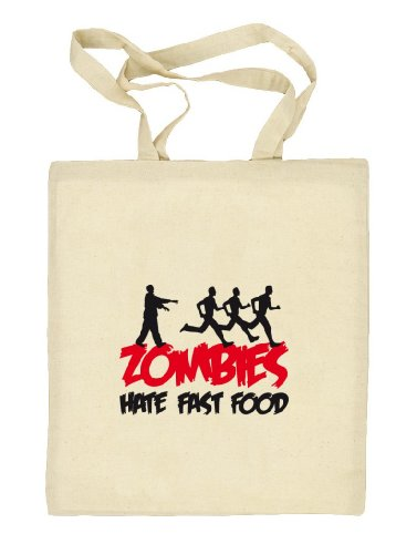 Shirtstreet24, ZOMBIES HATE FAST FOOD, Halloween Zombie Stoffbeutel Jute Tasche (ONE SIZE) Natur