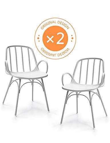 Suhu Stuhl Retro 2er Set Esszimmerstühle Designer Sessel Esstisch Modern Küchenstühle Gartenstuhl Loungesessel Vintage Schalenstuhl Plastik Mit Metallfüße Essstuhl Grau -