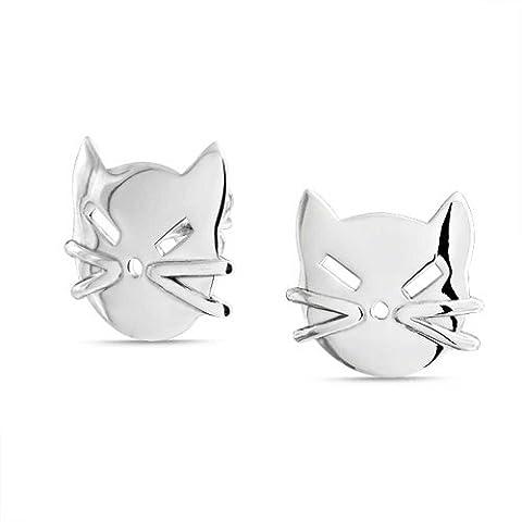 925 Sterling Silver Kitty Cat Face Stud Earrings