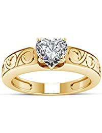 Atjewels 14K Yellow Gold Over 925 Sterling Silver With White Zirconia Solitaire Heart Ring MOTHER'S DAY SPECIAL...