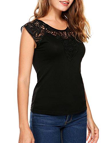 Zeagoo Damen Kurzarm T-Shirt Aus Floral Spitze Basic Shirt Spiztenshirt Tunika Baumwolle Tops Hemd Schwarz
