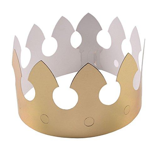 Beyond Dreams 12 Kronen in Königs Gold | Geburtstag Party Karneval Fasching Hochzeit | Goldfolie Papier Pappkrone | Prinz Prinzessin Krönchen | 62 cm x 9 cm | 9-Fach größenverstellbar