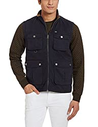 Arrow Sports Mens Regular Fit Reversible Jacket (8907259305219_AJQS9000_Large_Navy and Beige)