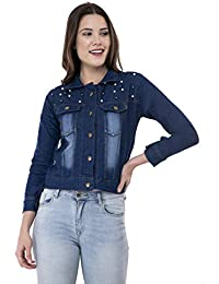 MONTREZ Women's Stone Wash Denim Jacket Crafted with Pearls