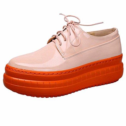 Nouvelles Femmes Plateforme Chaussures Casual Korean Dentelle Jusqu'A Pantshoes Chaussures En Cuir Simples Orange