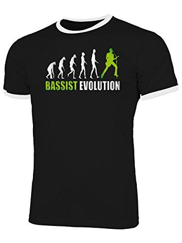 Bassist Evolution 4588 Herren Ringer T-Shirt (HR=Schwarz-Weiss/AD=Grün) Gr. S