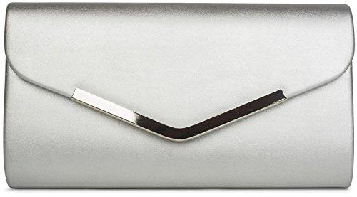 styleBREAKER bolso de mano clutch/bolso de fiesta en diseño de sobre con borde decorativo de metal y cadena amovible para colgarlo, de señora 02012131, color:Plata