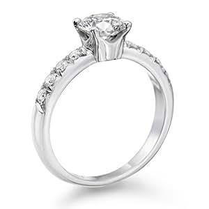 Zertifikat Klassischer 18 Karat (750) Weißgold Damen - Diamant Ring Round 0.90 Karat E-VS2 (Ringgröße 48-63)