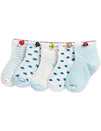 Niños Niñas Calcetines De Algodón Cómodo Suave Jogging Absorben el Sudor Antibacteriano primavera verano otoño Color Azul - Pack de 5 Pares
