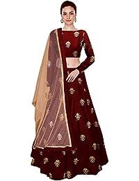 Bhakti Nandan Creation Women's Embroidered Taffeta Silk Semi-Stitched Lehanga Choli (All over 1, Maroon & Blue, Free Size) (Maroon)