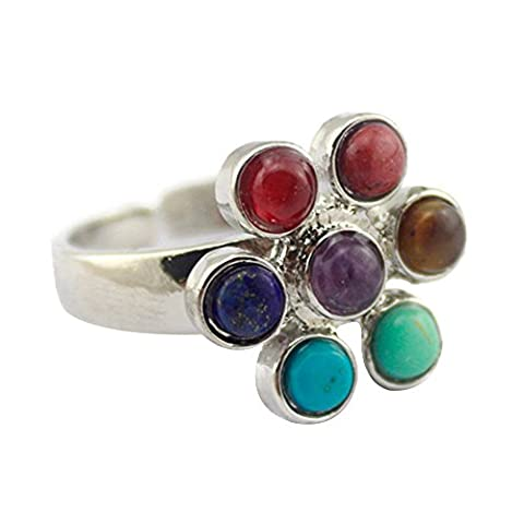 Contever® 7 Chakra Stone Adjustable Finger Ring Natural Gemstone Insert Into Reiki Healing Balancing Alloy -- Petal