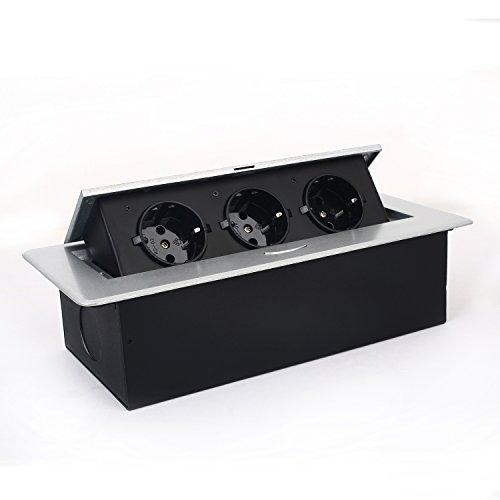 Bodensteckdose SIMBR 3 Fach versenkbare Tischsteckdose in Metallgehäuse für Küche, Büro, Zuhause( 1-3 Fach zur Wahl )
