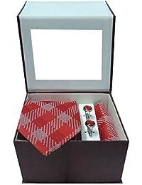 Riyasat - Red & White Color Check Design Micro Fibre Men,s Tie, Cufflink and Pocket Square Gift Set .(R_0032)