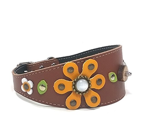 Superpipapo Handgemacht Braun Leder Windhund-Halsband Galgo-Halsband, Ausgefallenes Design mit Einer großen Sonnenblume, 45 cm: Windhund - Halsumfang 32-37 cm - Breit 55mm Set Sunflower-design