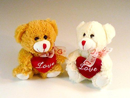 Plüschtier Teddybär mit Plüschherz Love und Herzschleife, ca. 17 cm, braun oder weiß, Lieferumfang 1 Teddy
