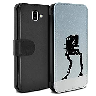 eSwish Phone Case Wallet for Samsung Galaxy J6 Plus 2018/J610 Empire Galaxy Wars AT-ST Inspired Design Flip Faux PU Leather Cover