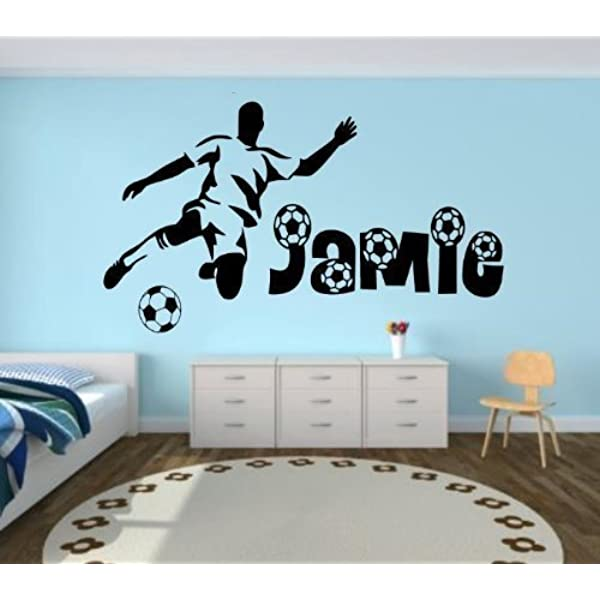 Choisir Taille-Joueur de football silhouette autocollant amovible wallsticker personnalisé