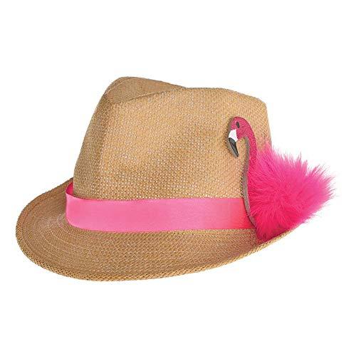 Kostüm Kopfbedeckung Zubehör - shoperama Strohhut Fedora Flamingo Party Festival Strand Hut Damen Herren JAG Kopfbedeckung Kostüm-Zubehör
