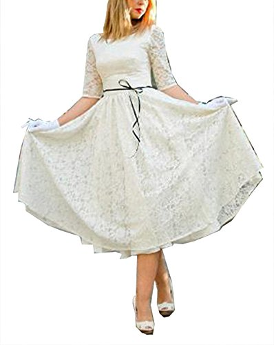 Fanciest Damen Vintage Tea Length Spitzen Brautkleider with Half Sleeves White UK26W