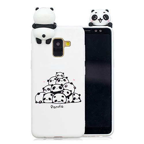 HopMore 3D Schutzhülle für Samsung Galaxy A6 Plus / A6+ Hülle Silikon Tier Panda Einhorn Muster Ultra Dünn Slim Handyhülle Silikonhülle Case Cover für Samsung A6 Plus - EIN Haufen Pandas - Samsung Projektor 3d