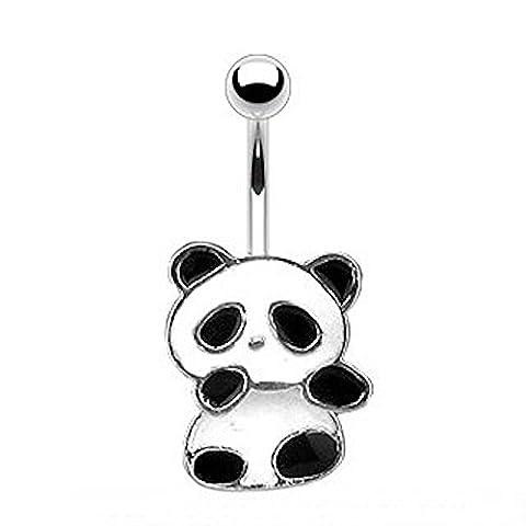 1 x Black and White Enamel Cute Panda Bear Belly Bar Piercing Dicke: 1,6 mm Length : 10mm Material: Chirurgischer Stahl