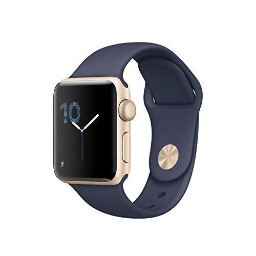 Preisvergleich Produktbild Apple MQ102ZD/A Watch Series 1 Sport Band Midnight, 38 mm blau/gold