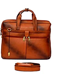 "Stylish 15"" Genuine Pure Leather Laptop Sleeve Lockable Messenger Office Bag With Shoulder Strap By-Widnes - B078KN6NWM"
