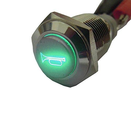 Mintice™ 16mm vert LED lumière 12V bouton poussoir voiture métal interrupteur momentané orateur Corne