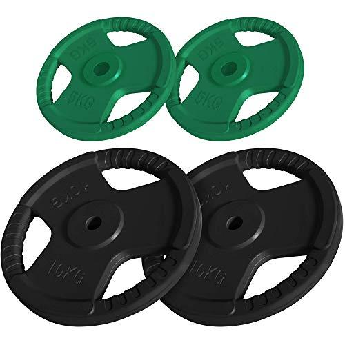 GORILLA SPORTS® Hantelscheiben-Set 30 kg Gummi Gripper - 2 x 5 kg, 2 x 10 kg Gewichte mit 30/31 mm Bohrung