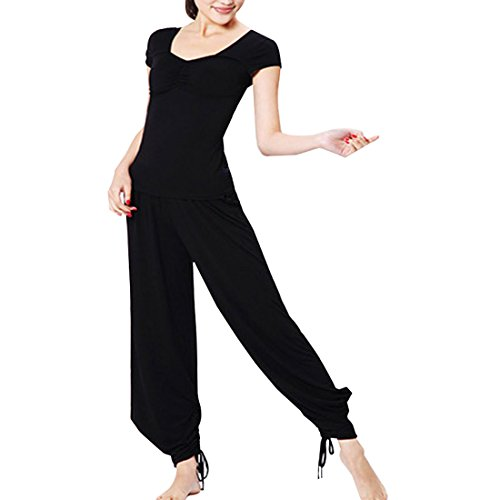 Sidiou Group Modale Yoga-Sets Yoga-Kleidung Yoga-Anzug Mode dünnen Yoga-Anzug Sport Anzug modische Sportanzug (Schwarz, M)