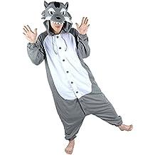 HSTYLE Adulto Unisex Mamelucos Kigurumi Pijamas Animal Trajes de Cosplay de dibujos animados ropa de dormir Lobo Gris