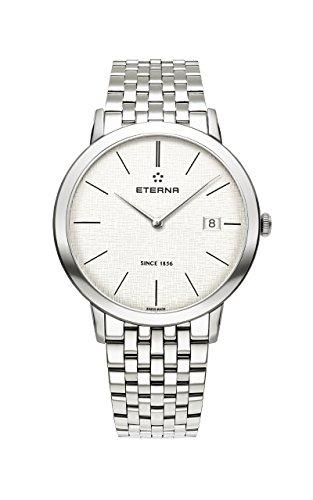 Eterna Eternity Gent Quartz Uhr, ETA 955.112, 40mm., Silber, Stahlband,