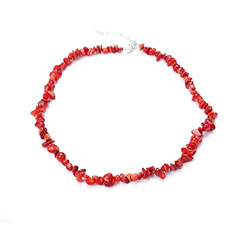 Winkey Halsketten für Frauen, handgefertigte gemischte natürliche Edelstein-Chip-Perlen, dehnbare Halskette, Heilung, Reiki-Halskette, Schmuck für Männer und Frauen, J, 1 (Cm Und Kette 5 Lang Ohrringe)