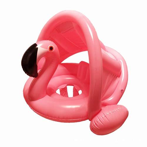 mciskin Flamingo Baby Schwimmring Baby Schwimmhilfe Baby Pool Schwimmring mit Sonnenschutz - Aufblasbarer Schwimmreifen für Kinder ab 6 Monaten bis 48 Monaten(Rosa)