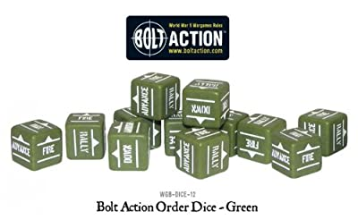 Green Pack Of 12 Bolt Action Orders Dice
