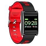 KingProst-Fitness Fitness Armband Tracker mit Pulsmesser Sport Uhren Smartwatch Wasserdicht Aktivitätstracker KalorienzäHler SchrittzäHler Schlafmonitor Uhr Fitnessuhr Für Damen Männer (Rot)