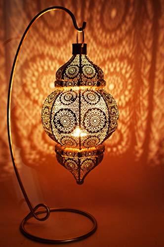 Orientalische Laterne aus Metall Shah Gold 55cm | orientalisches Marokkanisches Windlicht Gartenwindlicht | Marokkanische Metalllaterne für draußen als Gartenlaterne, oder Innen als Tischlaterne