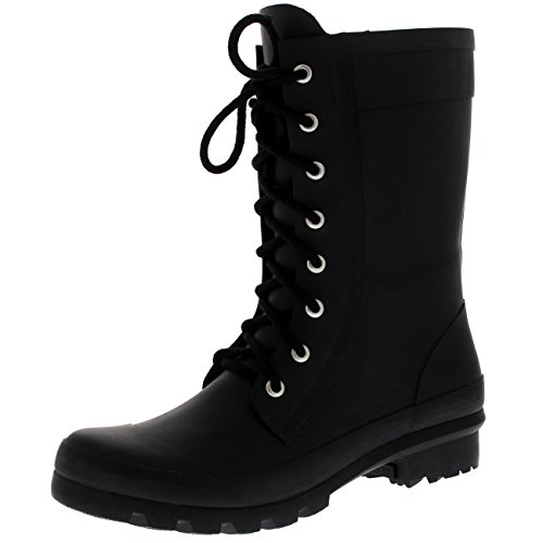 Womens Tall Military Rain Winter Snow Waterproof Rain Wellington Boots