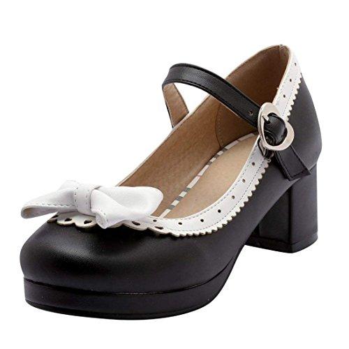Damen Blockabsatz Riemchen Pumps mit Schleife Rockabilly Lolita Cosplay Schuhe