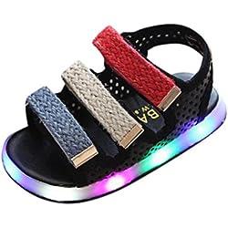 Zapatos Niña,Sandalias de verano para niños pequeños Chicos Chicas Bebé Zapatos luminosos LED Zapatillas deportivas LMMVP (20(EU), Negro)