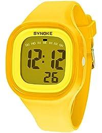 Malloom® 2015 moda natación reloj deportivo silicona digital LED impermeable unisexo reloj Amarillo