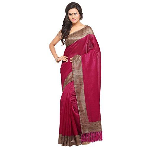 Rajnandini Women's Tussar Silk Plain Saree(JOPLNB3006-__Free Size) (Magenta)