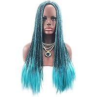 Mujeres Largo Trenzadas Sintéticas Pelucas Azul Y Negro Mezclado Peluca De Pelo Moda Halloween Cosplay Anime