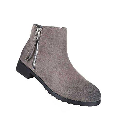 Damen Stiefeletten Schuhe Wildleder Boots Used Optik Schwarz Braun Grau 36 37 38 39 40 41 Grau