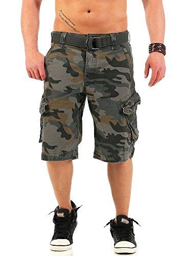 JetLag Herren Cargo Shorts Take off 3 Canvas-Gürtel Camouflage-Print cement camouflage W32