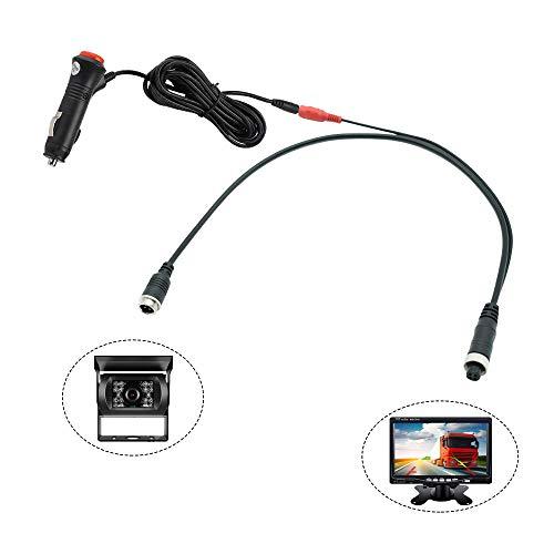 REARMASTER BNC 4PIN LKW Video Kabel & Stromkabel für Rückfahrkamera und Monitor, KFZ-Zigarettenanzünder mit 12V/24V