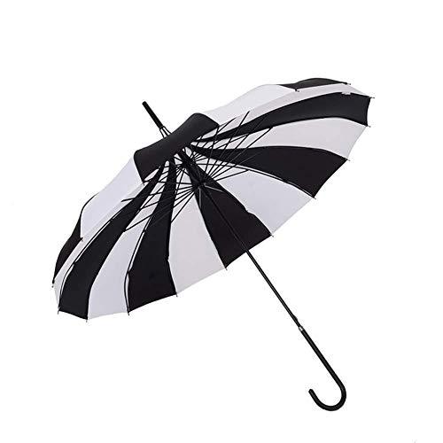 BJYG Parasol Umbrella Schwarz + White Stripes Pagoda Umbrella, 16K Straight Long Handle Umbrella - UV-Schutz Winddicht
