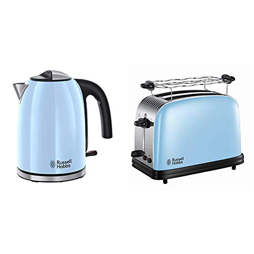 Russell Hobbs Colours Plus - Hervidor de Agua Eléctrico (2400 W, 1,7l, Acero Inoxidable, Azul Cielo) + Colours Plus - Tostadora (2 Ranuras Anchas, para 2 Rebanadas, Acero Inox, Azul Claro)